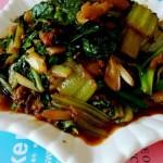 青菜炒肉渣