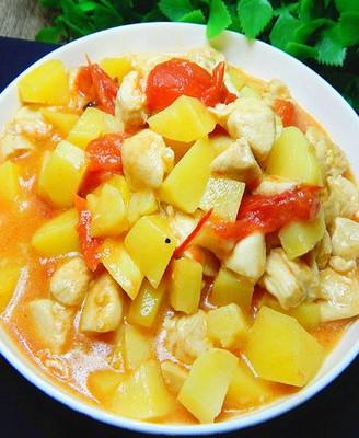 番茄土豆炖鸡丁