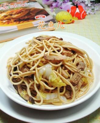 香菇猪肉娃娃菜炒面