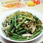 雪菜肉丝炒带豆