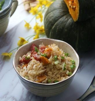 广式腊肠干贝南瓜焖饭