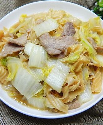 白菜豆皮炒肉片