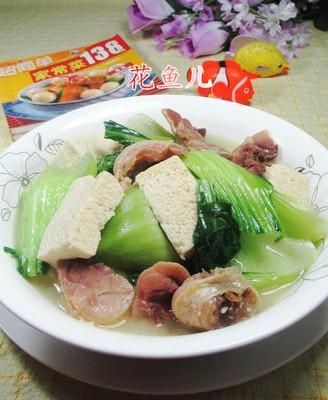 青菜腊鸡腿煮冻豆腐