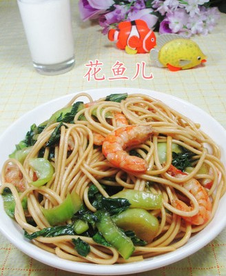 虾肉青菜炒面