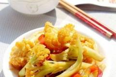 红椒炒花菜