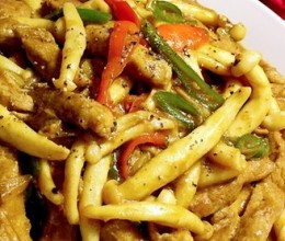 蚝汁海鲜菇炒猪柳