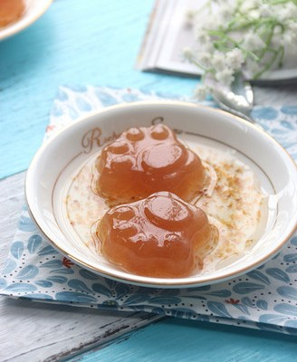糖桂花猫爪造型梨汁白凉粉