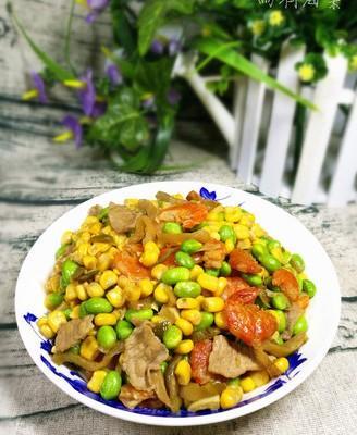 榨菜毛豆玉米粒炒肉