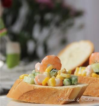 鲜虾玉米法棍沙拉#丘比沙拉酱#