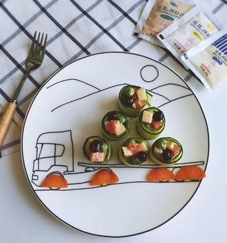 黄瓜卷蔬果沙拉