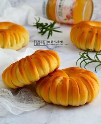 白桃果醬面包圈#丘比果醬#