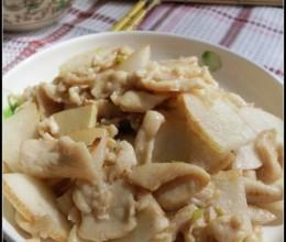 润肺祛秋燥——雪梨鸡片(使炒出的鸡胸肉嫩滑的小窍门