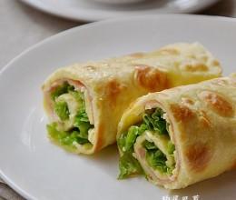 早餐20【火腿生菜蛋饼卷+黑芝麻米糊】