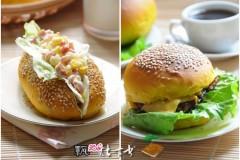 烘焙一炉温暖的早餐----南瓜猪扒小汉堡*南瓜珍珠米肠仔沙拉包