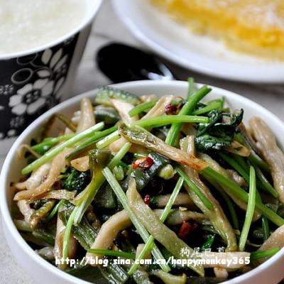 早餐26【香菜椒油萝卜干+三米粥+红薯派】