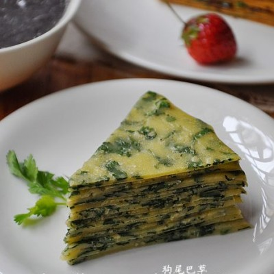 早餐30【香菜薄饼+黑芝麻米糊+草莓】