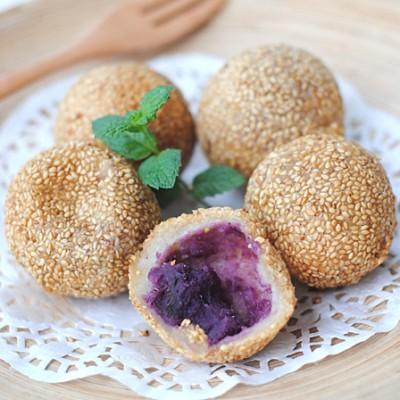 【紫薯麻团】——小麻团里蕴藏的紫色秘密