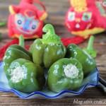 利用焯水原理让青椒肉盅保持碧绿的颜色