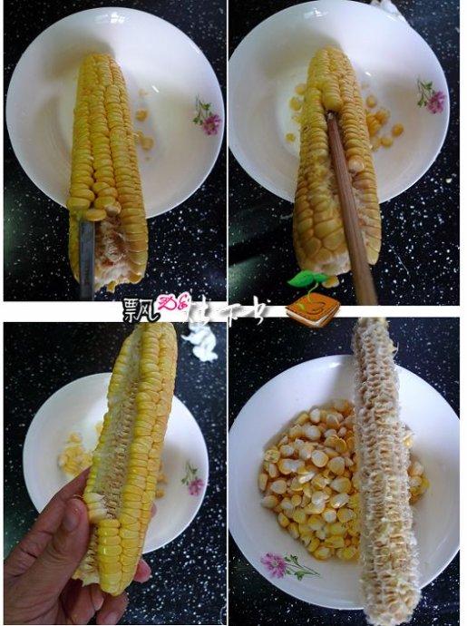 粗旷的鲜玉米浆粒粒玉米馒头+玉米汁+仲夏夜三宝(附快速取玉米粒)
