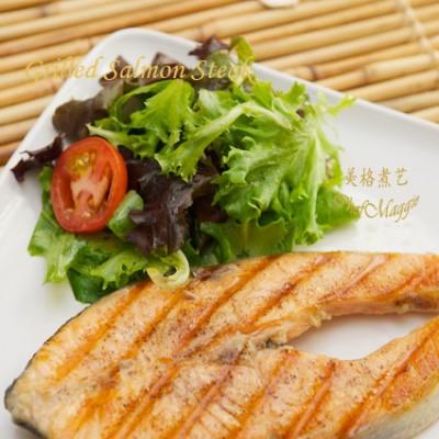 快手晚餐食谱-煎烤三文鱼排GrilledSalmonSteak
