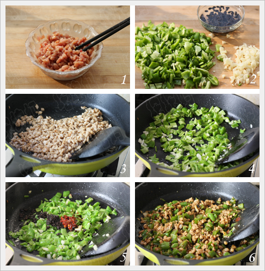 三伏天不想做饭时的简便一餐青椒碎米肉夹馍