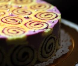 跟黑天鹅同桌争艳的自家手工蛋糕---紫薯蛋糕卷慕斯