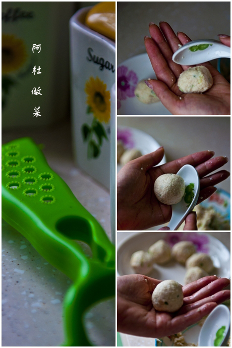 藕圆是这样做出来的.【手掌心和勺子的配合】