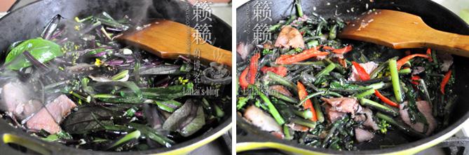 """【腊肉炒红菜苔】曾被封为""""金殿玉菜""""的湖北名菜!"""