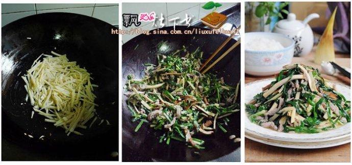 鲜美时令小炒--鲜笋豆干肉丝炒春韭(韭菜怎么炒才嫩不塞牙)