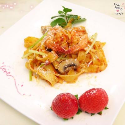鲜虾意大利阔蛋面---在家也可以享受浪漫的情人节!
