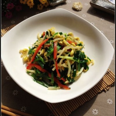 成本不足一元的春季餐桌上的当家菜——韭菜炒豆芽