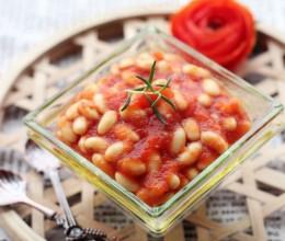 夏季应景的健康0负担小点——【茄汁黄豆】