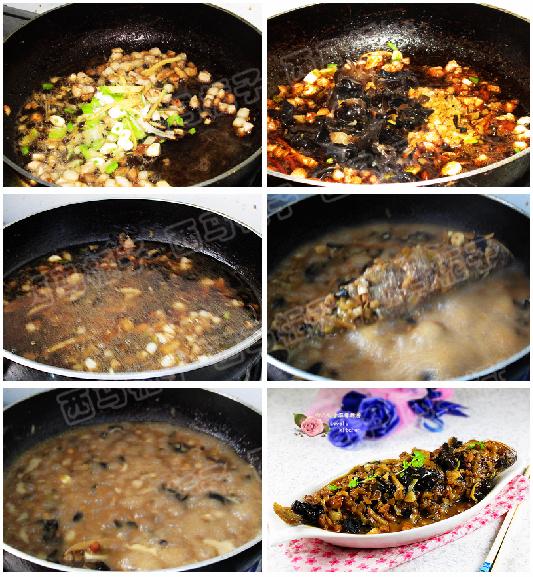 鲜美家常菜---肉丁榨菜烧黄花鱼