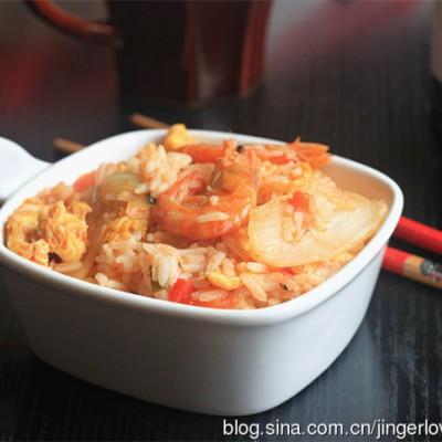 剩饭也有春天---鲜虾娃娃菜烩米饭