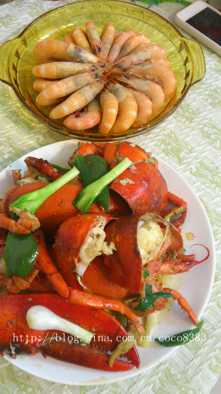 红红火火的一一姜葱蒜炒波士顿龙虾