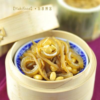 自家制纯天然补胶原的养颜美容菜——猪皮咸菜炒黄豆