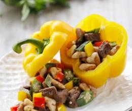 秋季美味又养生的时令快炒菜---彩椒菱角牛肉粒