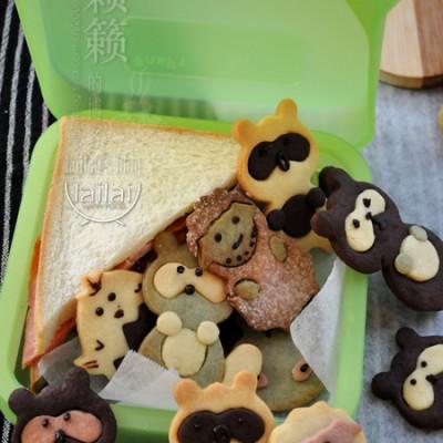 #新浪美食开学季#萌萌哒饼干,爱心便当包里的动物世界!