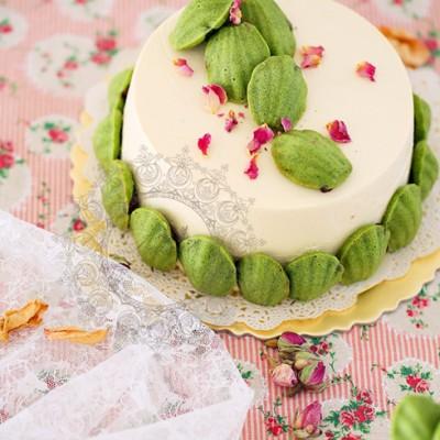 玫瑰抹茶蜜豆蛋糕