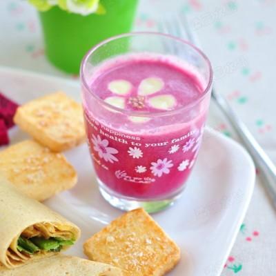 秋日里靓丽的营养豆浆——红龙果坚果豆浆