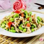 简单又营养的家常小菜---肉丝炒青豆