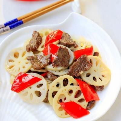 莲藕炒牛肉,只需10分钟就能吃饭