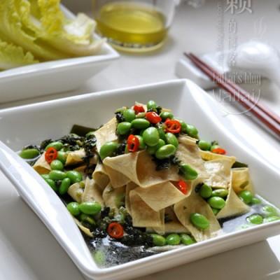 【雪菜毛豆炒腐皮】清香惹味,拯救夏日食欲的10分钟营养小炒