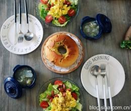 【早餐°】2016-12-8:蔓越莓磅蛋糕/蔬菜沙拉/美式炒蛋/脆皮肠/冰糖炖雪梨银耳