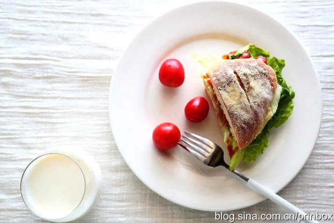 【早餐°】2016-12-27:软欧三明治/圣女果/牛奶