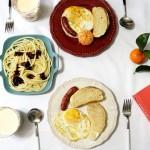 【早餐°】2016-12-31:黑椒意粉/软欧/煎蛋/脆皮肠/牛奶黑麦片/水果