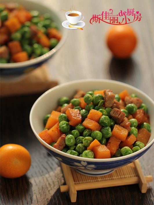 青豆红薯炒肉丁