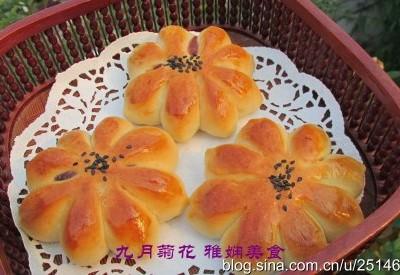 太阳花豆沙面包
