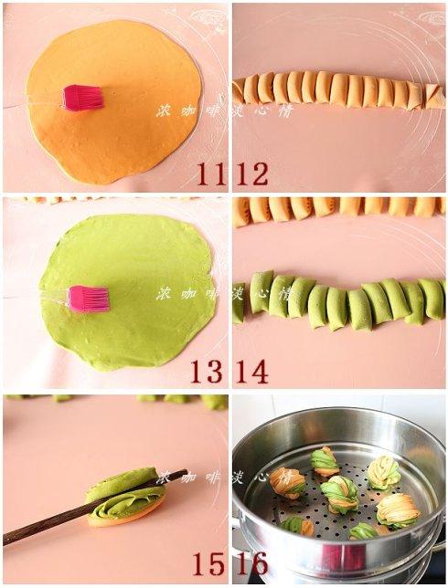 双色菜汁花卷&炸蔬菜丸子