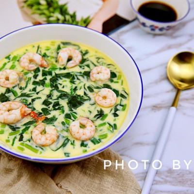 菠菜蝦仁蒸蛋--能量滿滿的一道菜